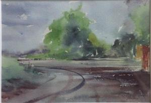 Watercolor: Country road