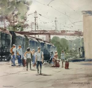 Watercolor: At the station