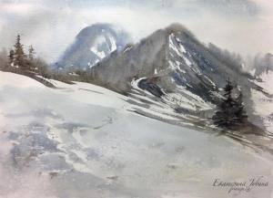 Watercolor: Mountain trail