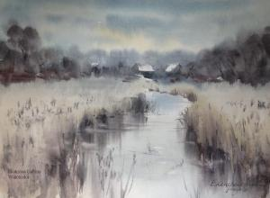 Watercolor: Overgrown lake