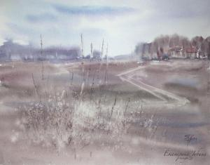 Watercolor: Spring field