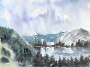 Watercolor: Mountain Lake