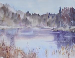 Watercolor: Misty Lake