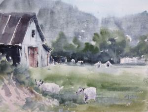 Watercolor: In the Village