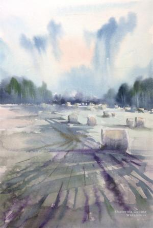 Watercolor: Hayfield