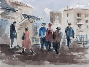Watercolor: Near the shop