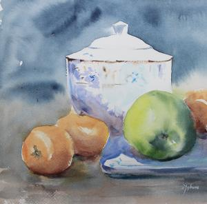 Watercolor: Still life with apple