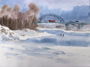 Watercolor: Thaw in February
