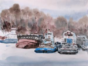 Watercolor: Winter Parking