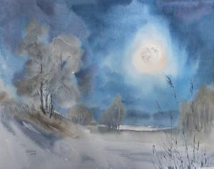 Watercolor: Night with the Moon