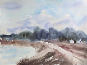 Watercolor: Spring road