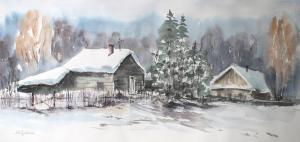 Watercolor: Winter Village