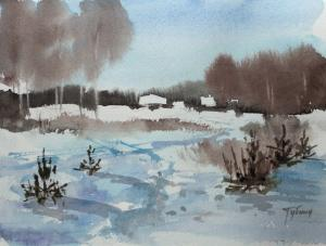 Watercolor: Winter path