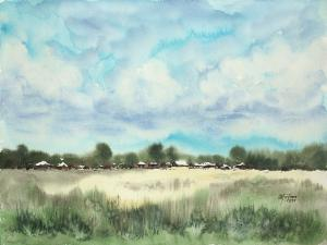 Watercolor: Summer landscape