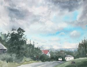 Watercolor: Outside the city