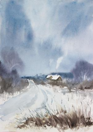 Watercolor: The beginnig of Winter