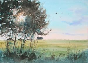 Watercolor: Spring Landscape