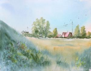 Watercolor: Clear day - Landscape