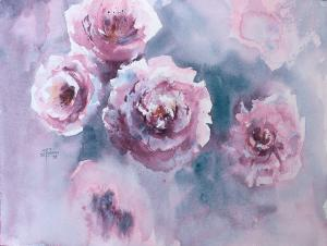 Watercolor: Flowers, peonies