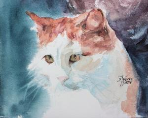 Watercolor: Portrait of a cat