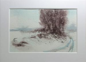 Watercolor: Winterscape, miniature