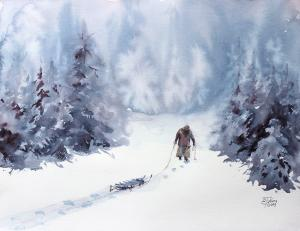 Watercolor: An old lady in the wintry forest