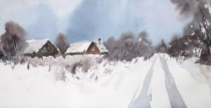 Watercolor: Winter Landscape