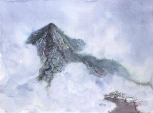 Watercolor: Mountain landscape