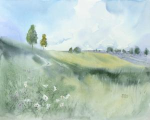 Watercolor: Green Landscape