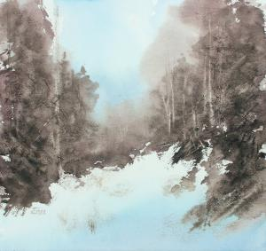 Watercolor: Winter Forest